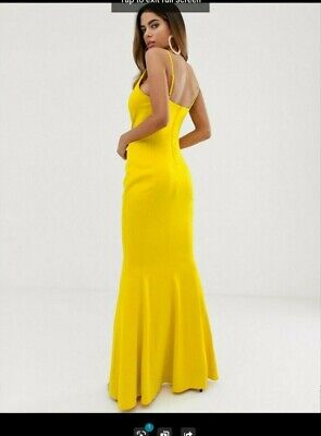 £15 • Buy Lipsy Asos Cowl Neck Yellow Fishtail Maxi Dress Size 10 Prom Party Event NWT