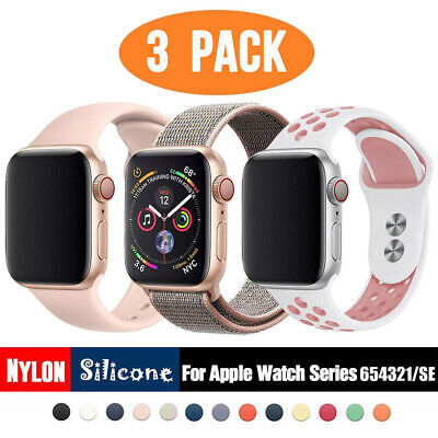 AU11.99 • Buy 3 PACK Sport Silicone Band Nylon Strap For Apple Watch 6 5 4 3 IWatch SE 38 44mm