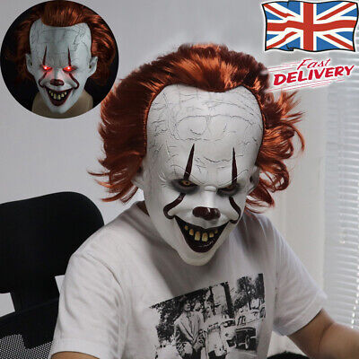 £22.89 • Buy Horror Scary Clown Pennywise IT Full Mask LED EvilRed Eyes For Halloween Cosplay
