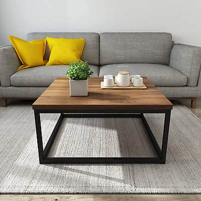 £65 • Buy Cherry Tree Furniture CLIVE  Walnut Colour Coffee Table With Black Metal Frame