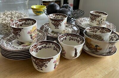£30 • Buy 6 Royal Worcester/Palissy Game Series - 6 Cups And Saucers, 1 Sugar Bowl & Dish