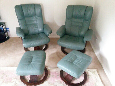£620 • Buy Ekornes Leather Recliner Chairs X2 And Foot Stools