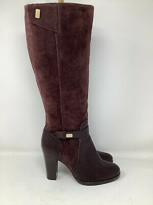 £10.50 • Buy M&S Autograph Burgundy Leather & Suede Knee High Boots - Size 6.5 - Worn Once