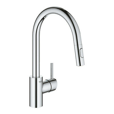 £169.71 • Buy Grohe 31483002 Concetto Single-lever Sink Mixer, Pull-out Dual Spray, Chrome New