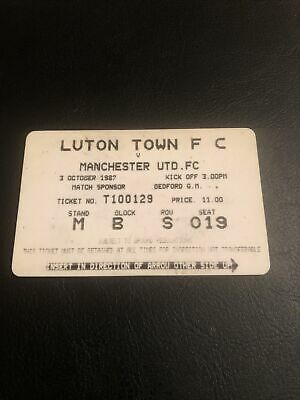 £4.99 • Buy TICKET STUB CARD 1987 LUTON TOWN V Manchester United WHEN AWAY FANS WERE BANNED