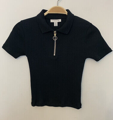 £7 • Buy ✖️ NWT Topshop Black Polo Neck Cropped Tee UK Size 6