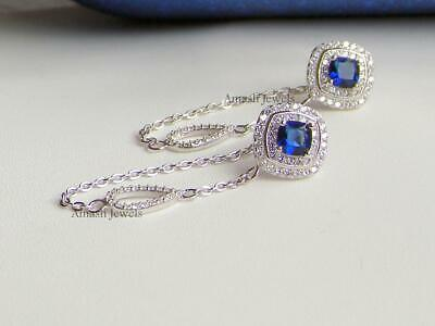 £17.99 • Buy White Gold On 925 Sterling Silver Simulated Diamond Sapphire Long Drop Earrings