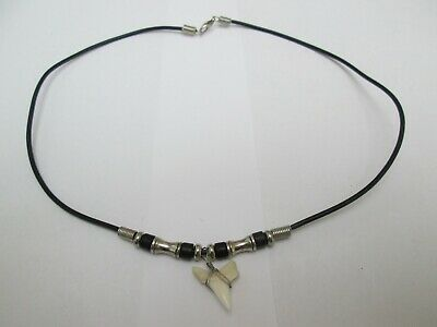 £0.99 • Buy Black Cord Necklace With Beads And A Sharks Tooth ? Pendant