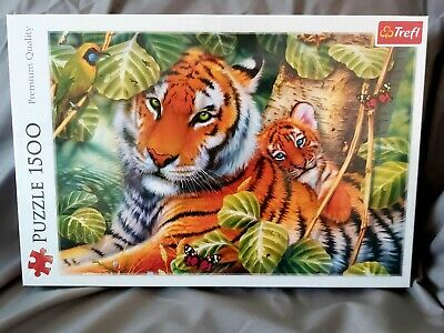 £3.90 • Buy Trefl 1500 Piece Adult Large Two Ferocious Tigers Family Forest Jigsaw Puzzle