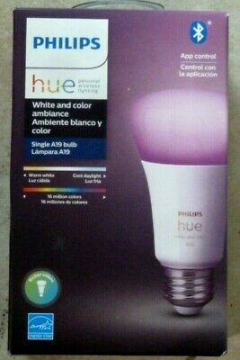 AU46.59 • Buy Philips Hue White And Color Ambience A19 2000 -6500 K Warm To Cool 1 Pack Bulb