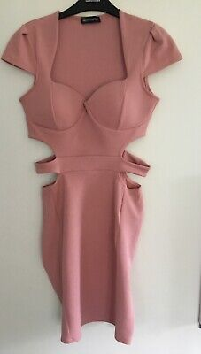£12 • Buy Womens PRETTYLITTLETHING Pink Cut Out Body-con Dress Size 12