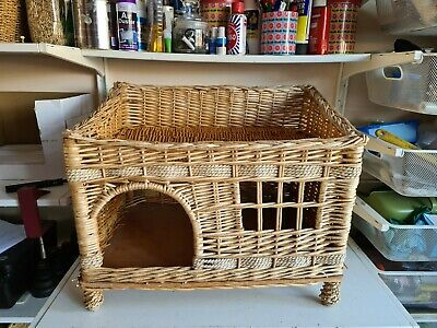 £44.99 • Buy Vintage Large Wicker Rope Rattan Pet Crate Bed Basket Sofa Cats Kittens Housing