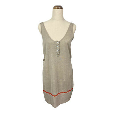 AU19.99 • Buy Vintage Sass And Bide Neutral Linen Tank Dress Red Stripe Size Small