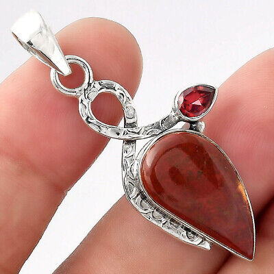 £9.01 • Buy Natural Red Moss Agate & Garnet 925 Sterling Silver Pendant Jewelry E093
