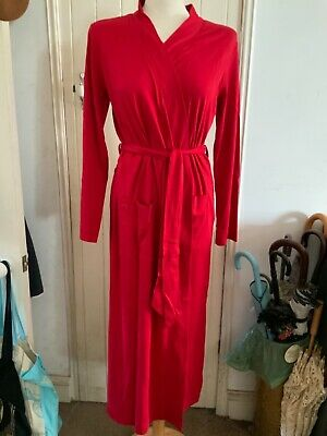 AU11.02 • Buy 'lands' End' Size Small. Red Cotton Dressing Gown, Midi Length