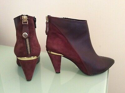 £15 • Buy Moda In Pelle Burgundy Suede  & Leather Ankle Boots UK Size UK 4/EU 37 WORN ONCE