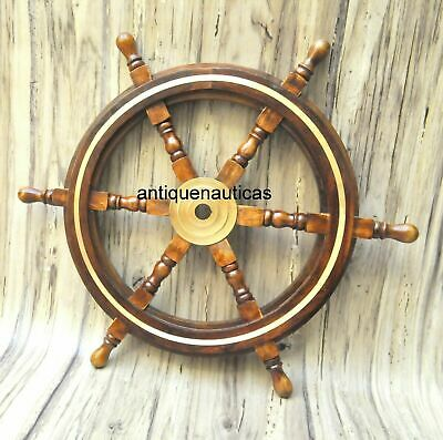 £39.90 • Buy 24 Brass Wooden Nautical Ship Steering Wheel Pirate Décor Wood Fishing Wall Boat