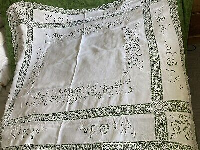 £30 • Buy Antique Hand Embroidered~cut Work  French Linen Tablecloth Hand Made Bobbin Lace
