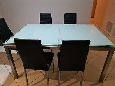 AU100 • Buy Dining Table - Glass With Chrome Legs
