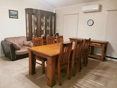 AU250 • Buy Solid Wooden Dining Table And 8 Chairs