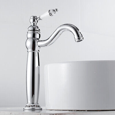 £35.59 • Buy ☛Bathroom Taps Tall Basin Mixer Tap Ceramic Handle Brass Chrome Faucets