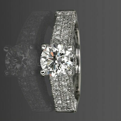£2067.63 • Buy Si2 D Colorless Round Diamond Ring Side Stones 18 Kt White Gold 2.1 Ct 4 Prongs