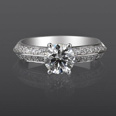 £1449.84 • Buy Round Cut 1.25 Carats Diamond Ring Solitaire + Side Stones Si2 D 14k White Gold