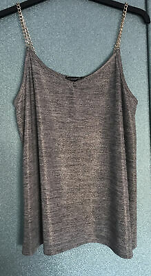 £0.99 • Buy Size 8 Silver Shiny Vest Top Gold Chain Straps Atmosphere Going Out
