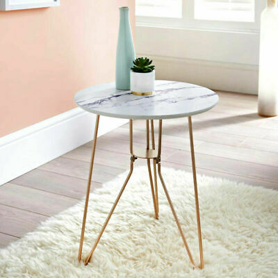 £22.95 • Buy Marble Top Side Table With Gold Metal Legs Vintage Lounge Living Room