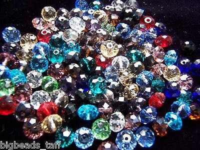 £1.99 • Buy 50pcs Flat Round Rondelle  Faceted Sparkly Assorted Crystal Beads 8x6mm