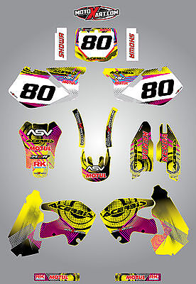 $137.18 • Buy Full Custom Graphic Kit Suzuki RM 250  - 1999 - 2000 NEON Style Stickers Decals