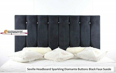 Seville Bed Headboard Faux Suede All Sizes & Colours Sparkling Diamante Buttons • 65£