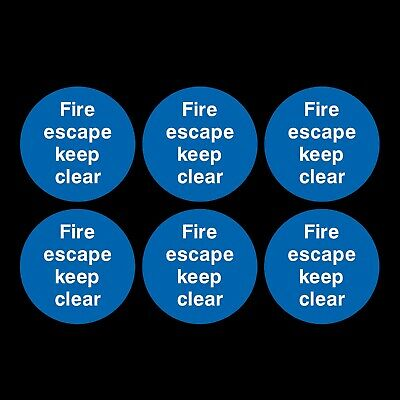 6x Fire Escape Keep Clear 80x80mm Self Adhesive Sticker Signs • 1.19£