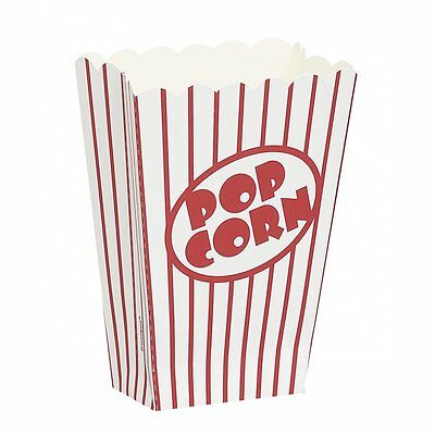 8 Popcorn Boxes Red And White Hollywood Party Movie Celebration Retro • 1.94£