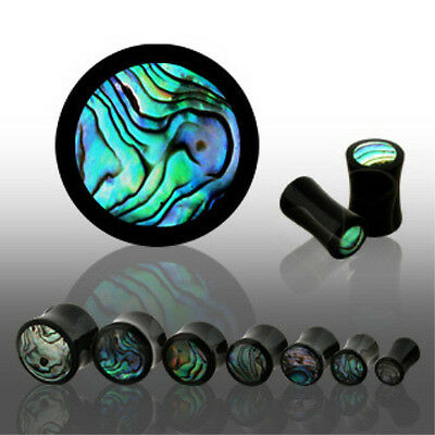 $10.75 • Buy PAIR Horn Plugs W/ Abalone Inlay Earlets Gauges Organic Body Jewelry