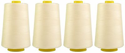 IVORY SEWING THREAD, 120s SPUN POLYESTER, OVERLOCKING 5000 YARDS, X4 CONES  • 8.49£