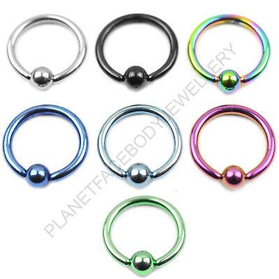 Captive Bead Closure Ring Ball 316L Surgical Steel Titanium Anodised Lip Eap   • 1.99£