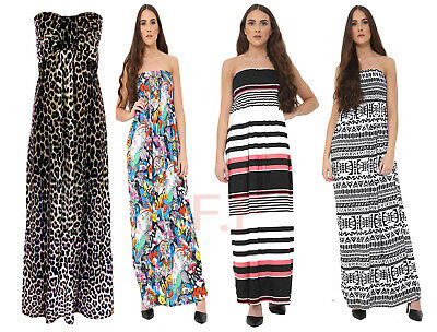 £12.99 • Buy Womens Ladies Leopard Print Knot Front Boob Tube Strapless Long Maxi Dress 8-14