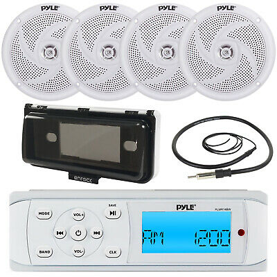 $86.49 • Buy PLMR18 New Yacht Boat MP3 USB Radio 4 X Waterproof Stereo Speakers-Antenna-Cover