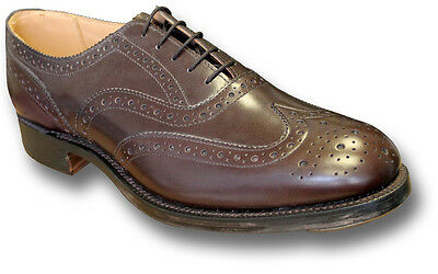 Sanders Uk-made Leather Highland Brogue Shoes, Brown [70949 Brn] • 150£