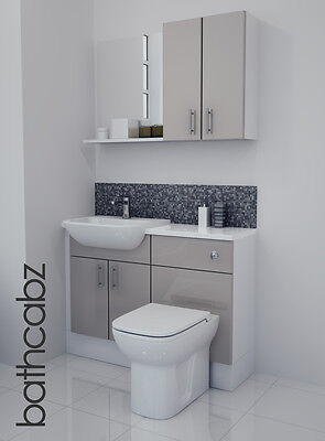 Latte Gloss Bathroom Fitted Furniture 1100mm With Wall Units / Mirror • 695£