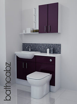 Aubergine Gloss Bathroom Fitted Furniture 1100mm With Wall Units / Mirror • 695£