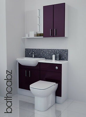 £695 • Buy Aubergine Gloss Bathroom Fitted Furniture 1100mm With Wall Units / Mirror