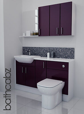 Aubergine Gloss Bathroom Fitted Furniture 1400mm With Wall Units / Mirror • 895£
