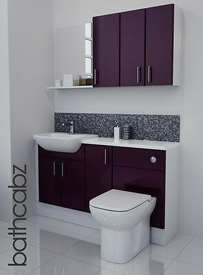 £895 • Buy Aubergine Gloss Bathroom Fitted Furniture 1400mm With Wall Units / Mirror