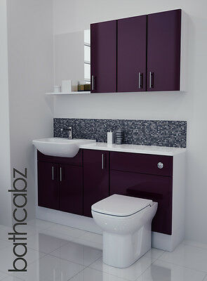 Aubergine Gloss Bathroom Fitted Furniture 1500mm With Wall Units / Mirror • 895£