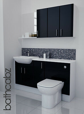 £895 • Buy Black Gloss Bathroom Fitted Furniture 1500mm With Wall Units / Mirror