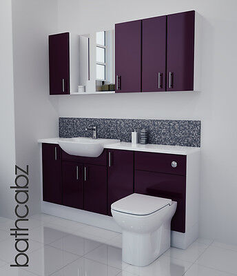 Aubergine Gloss Bathroom Fitted Furniture 1700mm With Wall Units / Mirror • 1,045£
