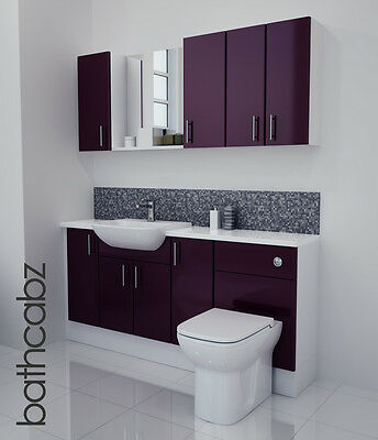 £1045 • Buy Aubergine Gloss Bathroom Fitted Furniture 1700mm With Wall Units / Mirror