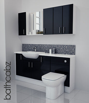 £1045 • Buy Black Gloss Bathroom Fitted Furniture 1700mm With Wall Units / Mirror